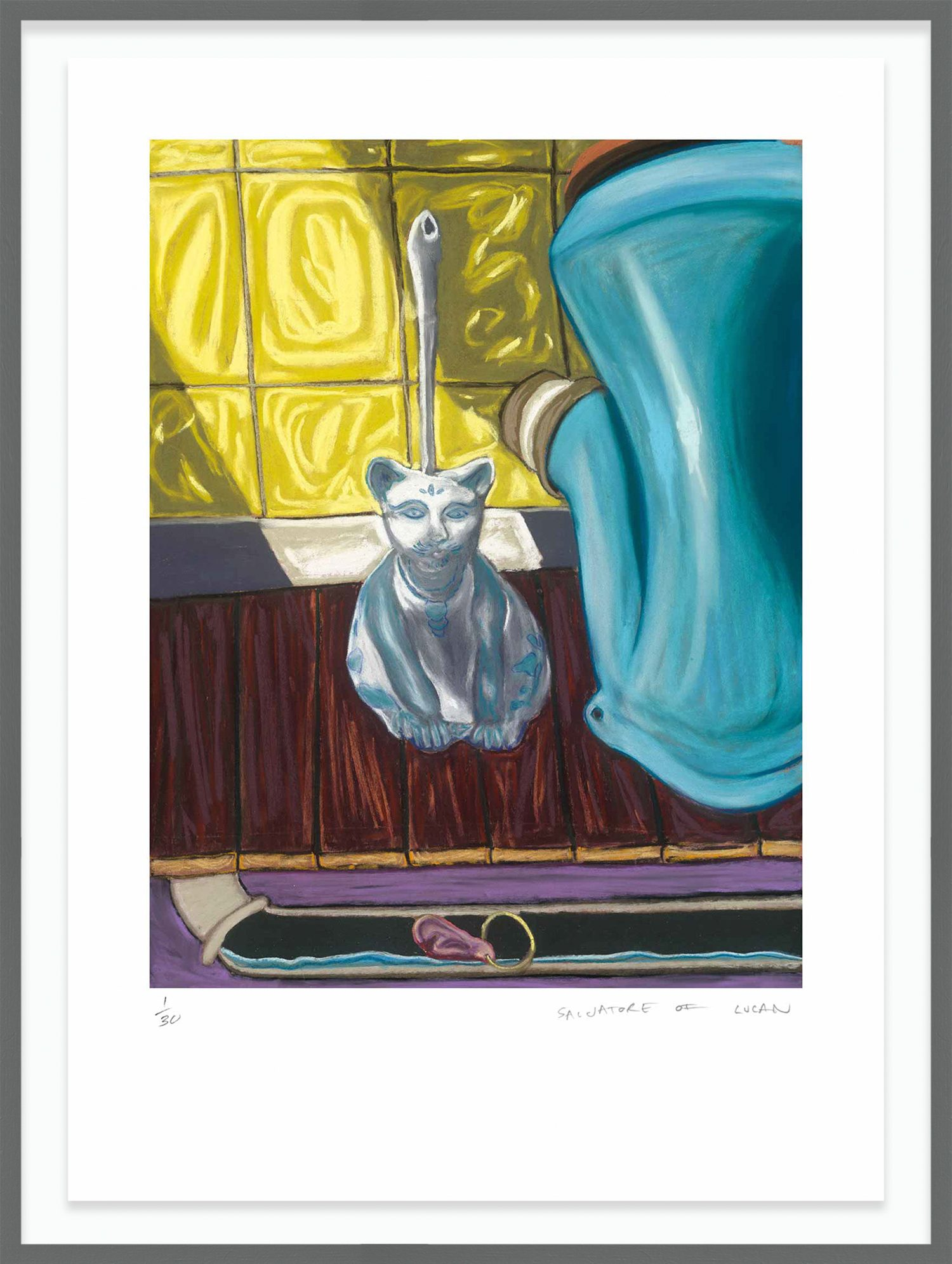 Hang Tough 'Lost Earring' Float Framed in Downpipe Grey (Framing Only)