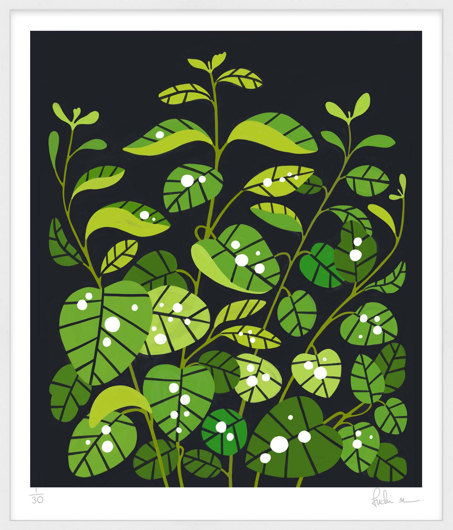 Hang Tough 'Snowberry Leaves After Rain' Slip Mounted in White (Framing Only)